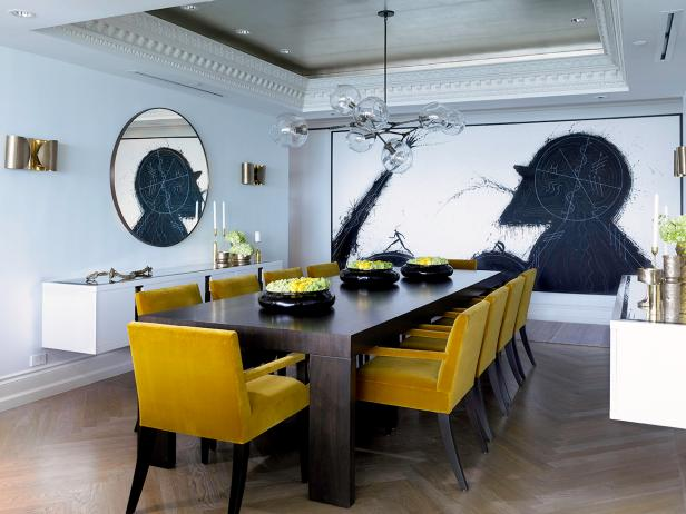 Chic, Contemporary Dining Room With Mustard Yellow Chairs