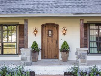 Rustic Italian Home Exterior with Wooden Door