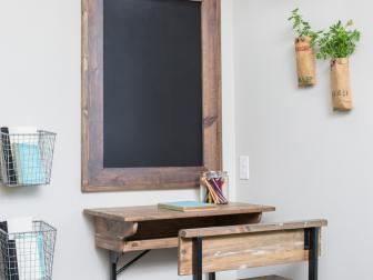 Kid's Room with Schoolhouse Style Desk and Chalkboard