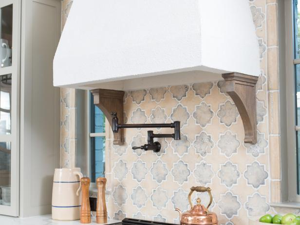 Neutral Rustic Kitchen with White Range Hood