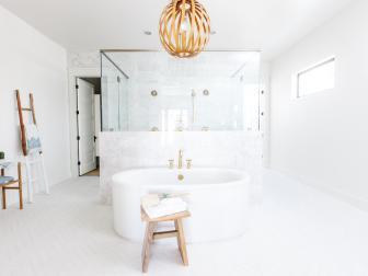 Warm, Sunny Master Bathroom