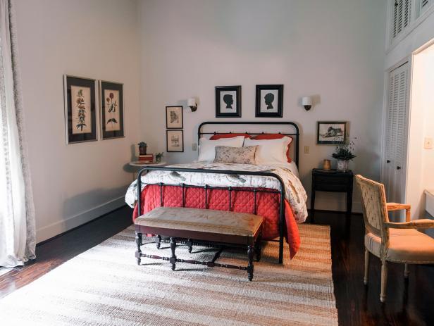 Classic White Master Bedroom with Hardwood Flooring