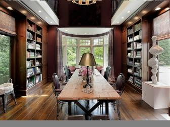 Brown Traditional Library With Bay Window