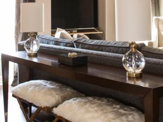 Contemporary Media Room With Fur Stools