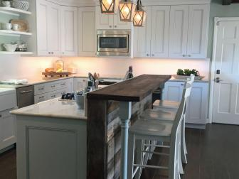 Country Kitchen With Antique Barnwood Breakfast Bar