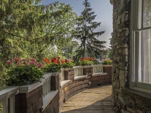 Rustic Wraparound Porch With Views