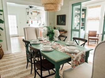 Green and White Cottage Dining Room with Beadboard Walls