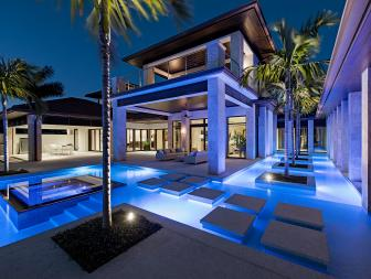 Luxury Pool at Night With Walkway