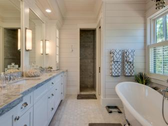 White Bathroom With Soaking Tub