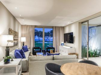 Contemporary, Gray Living Room is Cozy