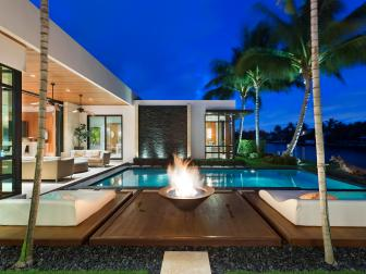 Fire Pit and Infinity Edge Pool Outside Modern Home
