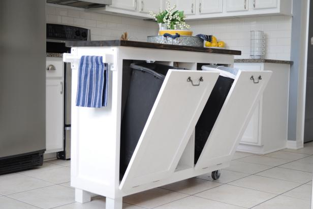 NoBrainer Ways To Hide Ugly Stuff In Your House HGTV - Trendy hidden kitchen trash cans