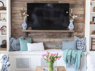 Contemporary Living Room With Pallet Accent Wall, Built-Ins