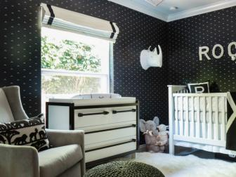 Comfortable Rocking Chair and Pouf Footstool in Black and White Nursery