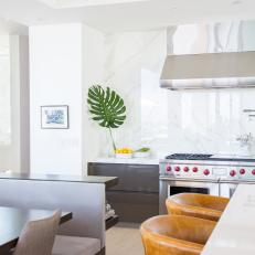 Open Contemporary Kitchen With Palm Leaf