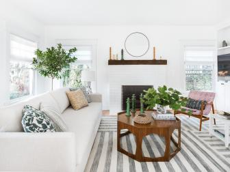White Transitional Living Room With Striped Rug