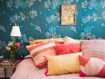 Blue Eclectic Master Bedroom With Jungle Wallpaper
