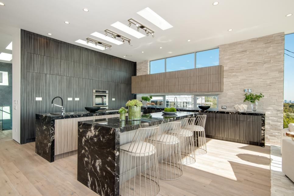 Contemporary kitchen with dual islands for Home design kitchen decor