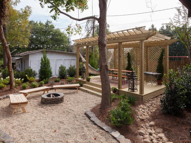 Contemporary Neutral Backyard with Deck and Pergola