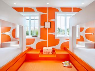 Modern Orange and White Bedroom With Shoes