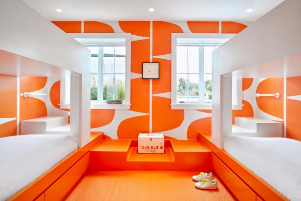 Modern Orange and White Bedroom