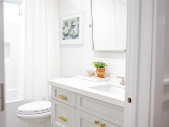 Contemporary White Kids' Bathroom