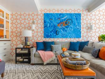 Media Room Pops With Refreshing Color, Artwork