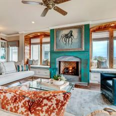 Transitional Living Room With Orange And Turquoise Accents