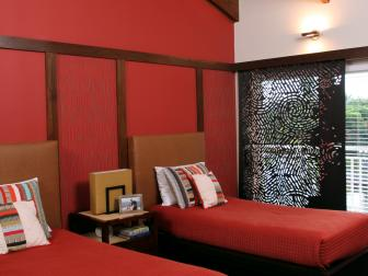 Bold, Red Anchors Bright Spare Bedroom Design
