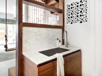 Open, Contemporary Bathroom With Organic Vanity