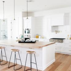 Natural Light Warms White Kitchen