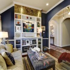 Eclectic Living Room With Navy Blue Walls