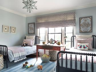 Powder Blue Kid's Room With Two Twin Beds, Star Pendant Light and Wide Roman Shade