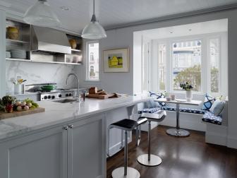 White Kitchen With Breakfast Nook