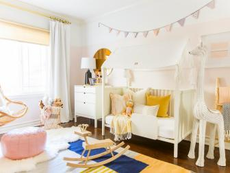Pink Girl's Room With Wicker Giraffe