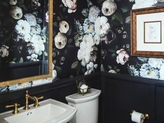 Dramatic Powder Room Features Floral Wallpaper, Dark Paneling