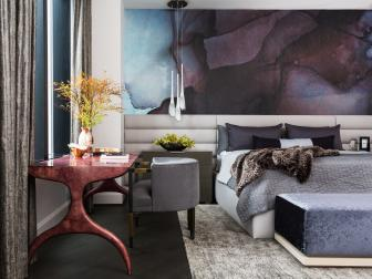 Gray and Purple Contemporary Master Bedroom With Art