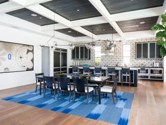 Black and Blue Contemporary Kitchen & Dining Room