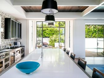 Black and White Kitchen With Blue Bowl