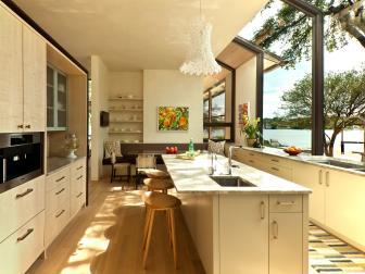 White Galley Kitchen With Lake Views