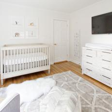 Neutral Transitional Nursery With Cube Ottoman