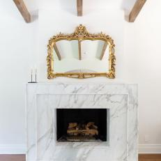 Marble Fireplace and Gold Mirror