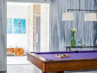 Contemporary Game Room With Purple Pool Table