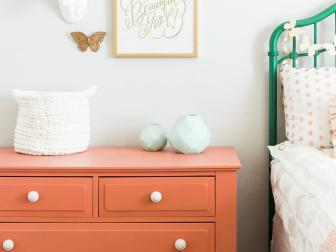 Girl's Bedroom with Coral Dresser