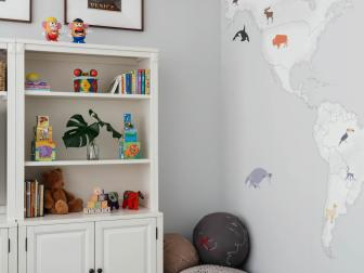 Much-Needed Storage in Contemporary Playroom