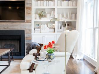 White Transitional Living Room With Orange Tulips