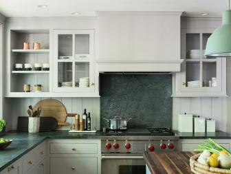 White Farmhouse Kitchen with Green Marble Countertop