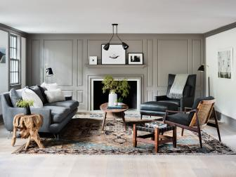 Gray, Modern Living Room in Renovated Farmhouse