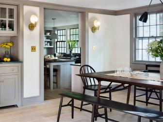 White Dining Room, Kitchen in Renovated Farmhouse