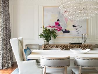 Neutral Contemporary Dining Room With Bubble Chandelier